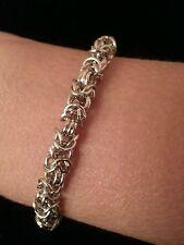 Handmade 5mm Byzantine link silver chain maille bracelet. NWOT custom sizes
