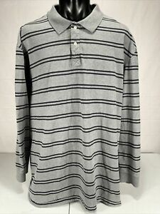 Foundry Supply Co. Long Sleeve Cotton Polo 3XLT Gray Navy Striped