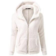 Korea Women Fur Coats Jackets Winter Warm Hooded Zipper Casual Long Sleeve white