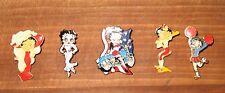 Lot of 5 Betty Boop vintage lapel pins Motorcycle Cheerleader Baseball +more!