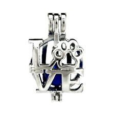 5pcs/lot Silver Alloy Love Dog Cat Paw Locket Pendant Beads Cage Charms K772