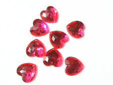 20 Pink Faceted Love Heart Beads 16 mm Acrylic Rhinestones/Gems Stitch Sew On