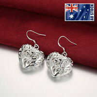 925 Sterling Silver Filled Women's Filigree Love Heart Dangle Earrings Stunning