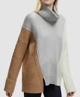 $299 French Connection Women's Gray Brown Turtleneck Asymmetrical Wool Sweater S