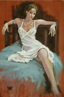 YARY DLUHOS ORIGINAL OIL PAINTING Seated Woman Figure Sultry Romantic Dress