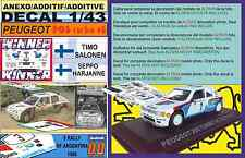 ANEXO DECAL 1/43 PEUGEOT 205 TURBO 16 E2 T.SALONEN R.ARGENTINA 1985 WINNER (01)