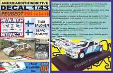 ANEXO DECAL 1/43 PEUGEOT 205 TURBO 16 E2 T.SALONEN R.ARGENTINA 1985 WINNER (01)