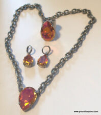 Made Necklace, Earrings Ring Set Love! Zoe Jane Huge Swarovski Crystal Artist