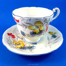 Painted Wild Flowers & Butterfly Paragon Tea Cup and Saucer