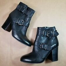 Vince Camuto 7.5M Black Leather Buckle Booties VC-Simlee New in Box