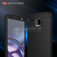 For Moto Z Force Droid XT1650 Verizon Carbon Fiber Texture Slim TPU Cover Case