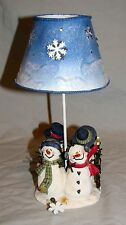 "Christmas Holiday Tea Light Candle Holder Tin Shade Snowmen Never Used 10"""