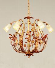 Lampadario classico 6 luci in metallo oro ricco e vetri coll. Dese 4015-6