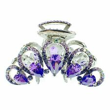 USA HAIR CLAW CLIP use Swarovski Crystal Hairpin Elegant Unique Purple New K21