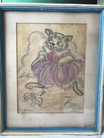 Vintage Original Cat Drawing Pen Ink Pastel Rare Signed by Artist Edna Lewis