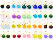 Wholesale 20 Color 10mm Multicolor Jade Gemstone Dangle Gold Hook Earrings AA