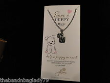 NEW JILZARA RESCUE SAVE A PUPPY CHARM NECKLACE HEART BFF