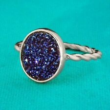 "Sterling Silver  Blue Oval Druzy Ring Size 7 Oval Stone is 1/2"" tall x 3/8"" wide"