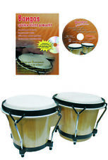 Bongo Set, 6 Zoll/7 Zoll Birkenholz mit Lernbuch und Karaoke CD, stimmbar
