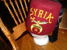 Vintage Scimitar Fez Masonic Shriners Cap Hat with Pins and Syria Bank Preowned