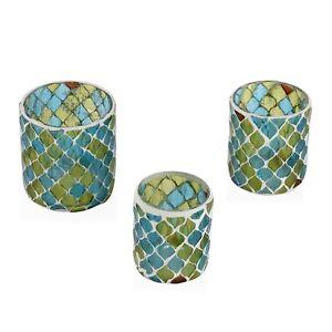 Set of 3 Blue Green Mosaic Moroccan Pattern Tea Light Candle Holder