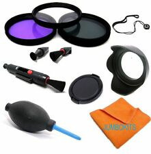 49mm Hd 3 Filter Kit + Hood +Cap + Accessories For Sony Alpha A5000 A6000 Hd