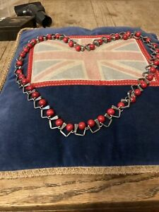 Brutalist Necklace Horseshoe Tacks & Red Wood Beads