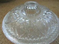 2 PIECE bowl and lid sugar or candy dish clear glass handles antique vintage