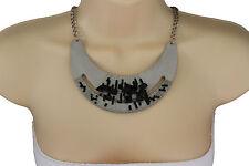 Women Silver Necklace Metal Chain Plate Black Stone Bead Fashion Jewelry Earring