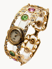 VENDOME:WOMEN'S FULL MULTICOLOR STONES GOLD FINISH  LINK ANALOG QUARTZ WATCH