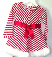 New Bonnie Jean Christmas Dress Red/White with White Faux Fur Trim SZ 14 NWT