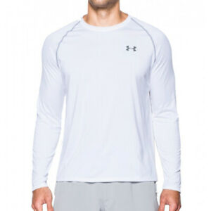 Under Armour UA HeatGear Tech Mens Loose Long Sleeved White Sports Training Top