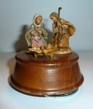 Fontanini Music Box Nativity Scene 70s Wood Base Roman Rr Mark Plays Holy Night