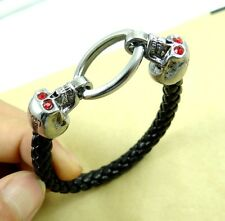 Punk Rock Mens Snake Cord Black Leather Skull Wristband Bracelet Bangle Cuff P2