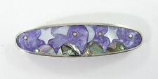 "Alpaca hair clip / barette abalone shell purple moon & stars design 3 1/2"" long"