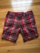 Eddie Bauer Plaid Shorts Women's Size 8 Mid Rise Red Green New