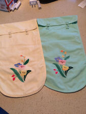 Vintage Lingerie Bags Cotton w Floral Applique Chinese Style in Green & Yellow