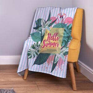 Hello Sommer Flamingo Streifen [4 Farben] Weich Fleece Überwurf Decke