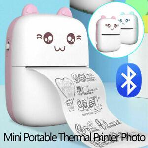 Mini Photo Pocket Label Sticker Receipt Mobile Thermal Printer + 10 Roll Paper