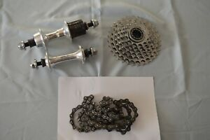 Rare Shimano Deore XT hubs with chain,cassette 7 speed 36h FH-M732 HB-M730