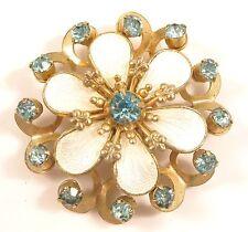 White Guilloche Enamel Aqua Blue Rhinestone Vintage Snowflake Brooch Pin*Y567