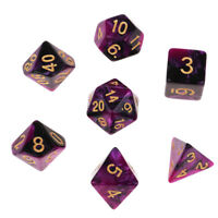 7X Two Color Polyhedral Dice for TRPG MTG DND Role Playing Accs Purple Black