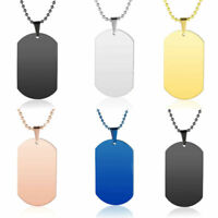 1/2pcs Polished Stainless Steel Plain Military Dog Tag ID Pendant Necklace Chain
