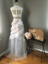 $498 BCBG MaxAzria Off White Open-back Tulle Wedding Gown Dress Size 8 Medium M