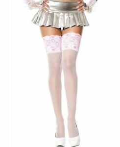 Sheer Thigh High Stockings With Wide Lace Top - Music Legs 4126