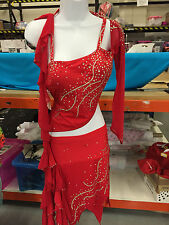 STUNNING RED STONED DANCE COSTUME ,traveller rigout,latin,disco,slow  B9