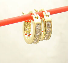 Small Tiny Diamonique CZ Hoop Earrings 14k Yellow Gold Clad Real 925 Silver