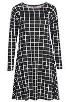 Womens Ladies Long Sleeve Midi A-line Skater Swing Dress Jersey Flared Tea Plain