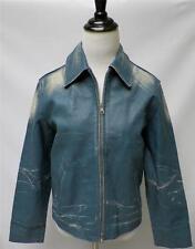 VTG Unique Bomb Boogie Sky Blue Paint Strokes Distressed Leather Jacket S