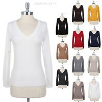 Women's V Neck Long Sleeve Cotton Sweater Warm KNIT Top Ribbed Hem Casual S M L